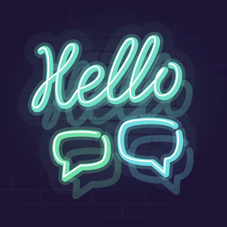 Neon handwritten hello sign. Glowing word with chat bubbles. Square neon illustration on brick wall background 向量圖像