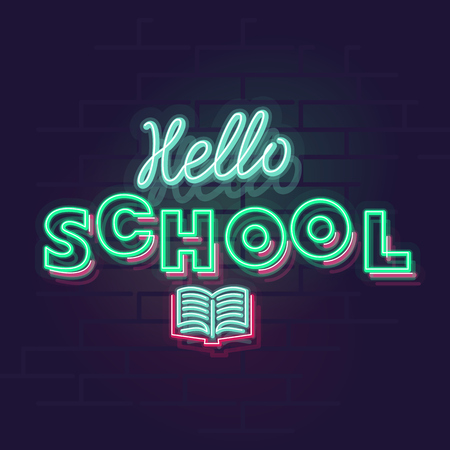 Neon hello school typography. Glowing words with open book. Square neon illustration on brick wall background