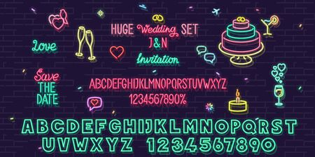 Neon wedding set. Isolated for card, post, invitations. Headline and small condensed uppercase letters