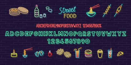 Neon korean street food set. Isolated for logo, poster, banner. Headline and small condensed uppercase letters Logo