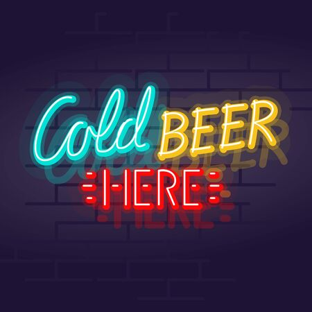 Neon cold beer here typography. Night illuminated wall street pub or bar sign. Square illustration on brick wall background for social networks