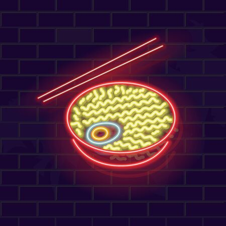 Neon ramyun noodles in bowl. Traditional korean soup with chopsticks. Glowing vector illustration on brick wall background.