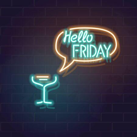 Ciao tipografia venerdì con discorso baloon. Illustrazione quadrata su sfondo muro di mattoni per social network, banner, t-shirt, poster. Immagine vettoriale isolata per bar, enoteca pub.