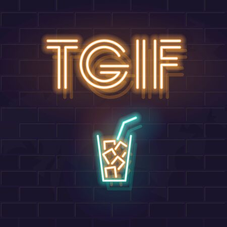 Thanks God Its Friday! Neon TGIF typography with rum & cola cocktail. Square illustration for social networks, bar poster. Glowing vector isolated icon and text on brick wall background. 일러스트