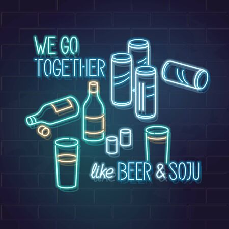 We go together as beer and soju. Neon soju and beer on table. Romantic funny korean illustration of love and traditional alcohol mix. Square illustration for t shirt, social network post, banner, postcard