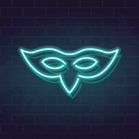 Venetian mask with sharp bird nose. Neon icon illustration for carnival logo, poster or advertisement. Square fluorescent image for social networks