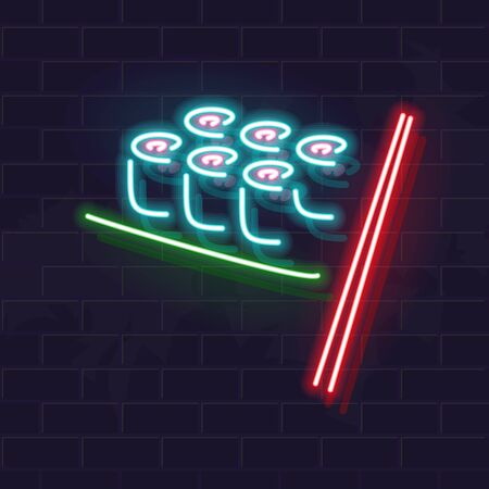 Neon sushi rolls icon signage on brick wall. Vector isolated images for dark background. Fluorescent illustration for menu, logo, poster. Square format for social network post Ilustrace