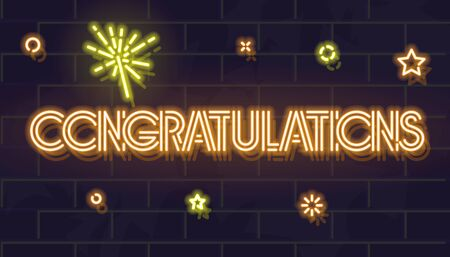 Congratulations neon headline with sparkles and confetti. Celebrating lottery, giveaway, birthday, anniversary. Glowing typography on brick wall background.