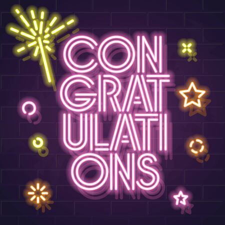 Square congratulations typography with sparkles and confetti. Neon text for celebrating lottery, giveaway, birthday, anniversary. Glowing letters on brick wall background.