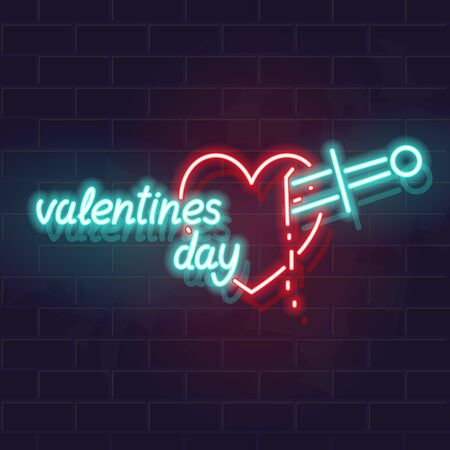 Neon bleeding heart with valentines day typography. Modern youth love symbol. Vector isolated symbol for postcard, poster, banner, social network post.