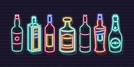 Neon bar shelf bottles icon set. Beverages for classic coctails. Glowing illustration for bar, liquor shop, isolated icons for menu. Whisky, tequila, gin, champagne and more. Ilustração