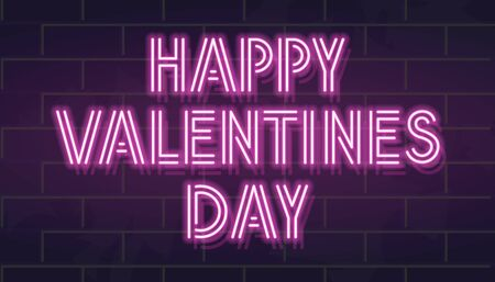 Neon fluorescent valentines day headline. Isolated typography for poster, banner, advertisement, social network. Glowing capital letters for any dark background.