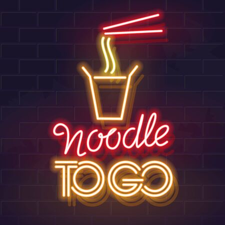 Noodle To Go. Neon asian noodle takeaway illustration. Hot take away chinese lunch for modern business people. Isolated glowing typography for poster, banner, menu on brick wall background.