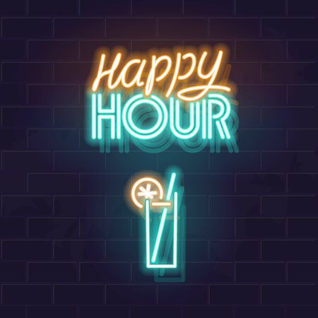 Neon happy hour signage. Glowing typography with alcohol drink glass on brick wall background. Isolated text for any dark background. Square illustration for social network post.