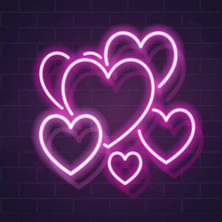 Pink neon romantic hearts. Love symbols on dark brick wall background. Square vector illustration for social network, poster, card. Isolated glowing icons. Ilustrace