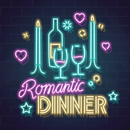 Neon romantic dinner illustration. Isolated vector line art image with handwritten typography on dark background. Fluorescent style evening concept for social network, poster, advertisement.