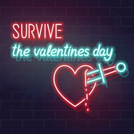 Survive the valentines day typography. Bleeding neon heard icon on dark brick background. Funny single 14 february celebration poster, banner, t-shirt, social network post concept.