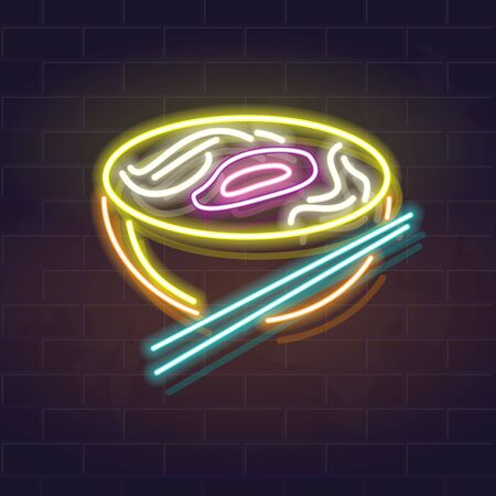Neon pho bo bowl icon on brick wall background. Vietnamese cuisine, asian noodle soup. Vector isolated illustration for restaurant menu or flyer.