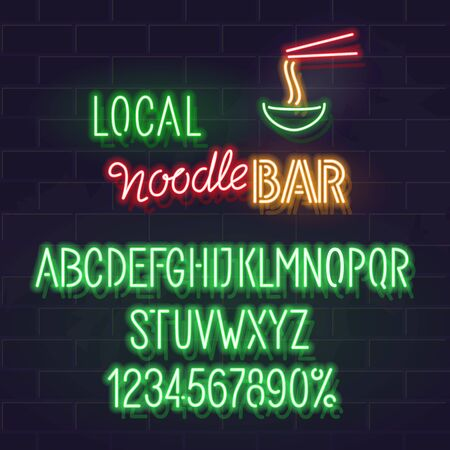 Logo or advertisement template for local noodle bar. Isolated neon alphabet, handwritter typography, tiny icon on brick wall background.
