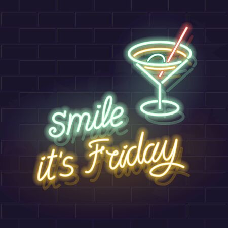 Smile, it is friday neon handwritten typography or brick wall background. Illustration for bar or pub poster, square social network post, flyer, advertisement. Isolated elements for any dark background. Stock fotó - 137895468