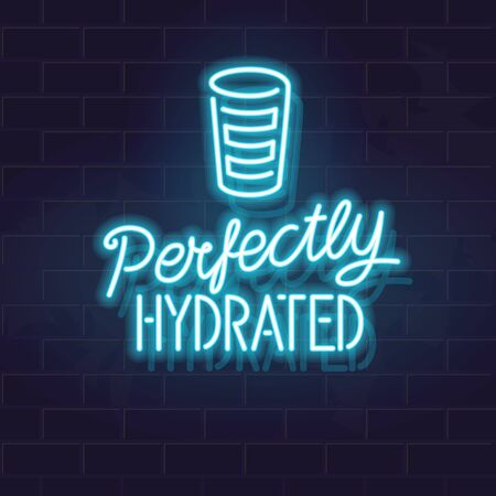 Neon perfectly hydrated handwritten lettering. Glowing vector typography and water silhouette. Fluorescent letters on dark brick wall background