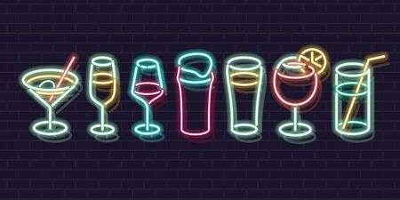 Neon cocktails set. Fluorescent isolated vector icons of brick wall background for menu, banner, advertisement. Isolated glowing classic drinks for any dark background Ilustrace
