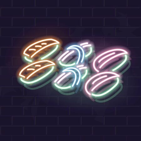 Neon sushi icon signage on brick wall. Vector isolated images for dark background. Fluorescent illustration for menu, logo, poster. Square format for social network post Ilustrace
