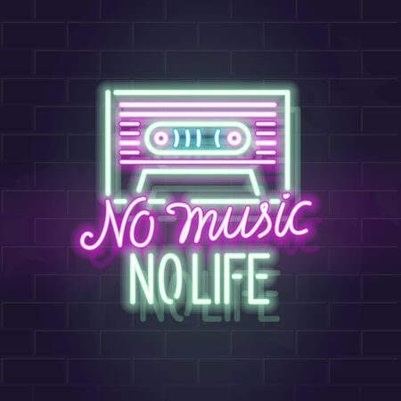 Neon no music no life poster with cassette silhouette. Vector glowing typography on brick wall background. Isolated for any dark background.