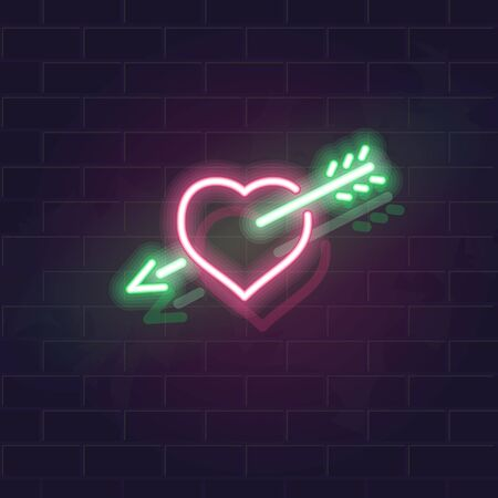 Neon heart and arrow vector icon on brick wall background. Fall in love symbol for st. valentines day poster, flyer, party, banner or social network post. 일러스트