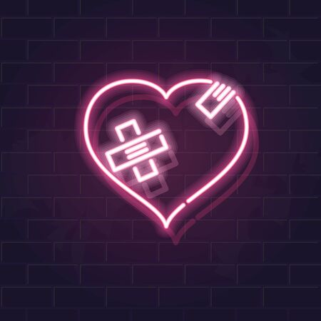 Neon wounded heart silhouette with crossed band patches. Fluorescent icon on brick wall background. Concept image for love relationship. Illustration