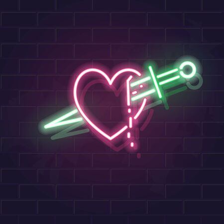 Neon heart and knife icon. Fluorescent icon on brick wall background. Concept image for love relationship.