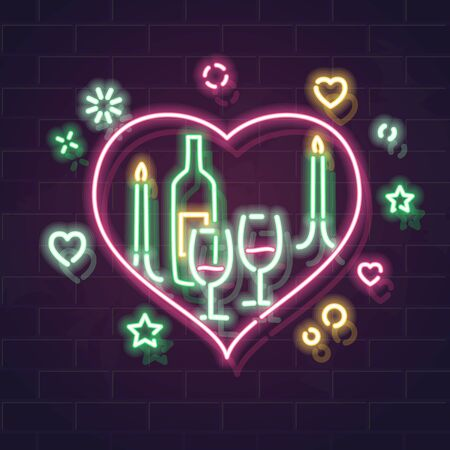 St. Valentines day dinner neon illustration. Vector glowing typography on brick wall background. Isolated for any dark background.