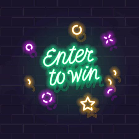 Neon enter to win handwritten lettering typography. Night illuminated wall street sign. Square illustration on brick wall background