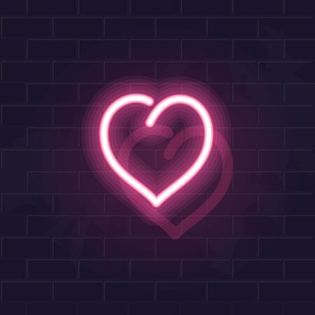 Neon pink heart. Fluorescent isolated vector illustration for any dark background. Square image for poster, banner, social network post Ilustrace