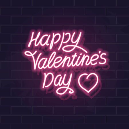 Neon happy Valentines day typography. Fluorescent isolated vector illustration for any dark background. Square image for poster, banner, social network post.