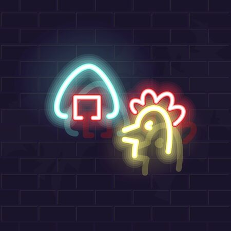 Neon chicken onigiri silhouette. Traditional japanese snack. Glowing vector illustration on brick wall background.