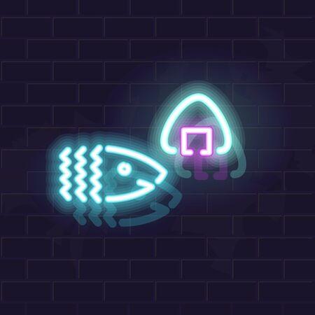 Neon tuna of salmon onigiri silhouette. Traditional japanese snack. Glowing vector illustration on brick wall background. Ilustração Vetorial