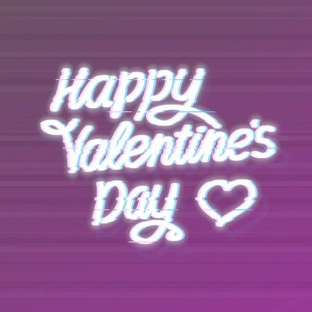 Glitch happy Valentines day typography. Square isolated vector illustration. for poster, banner, social network post.