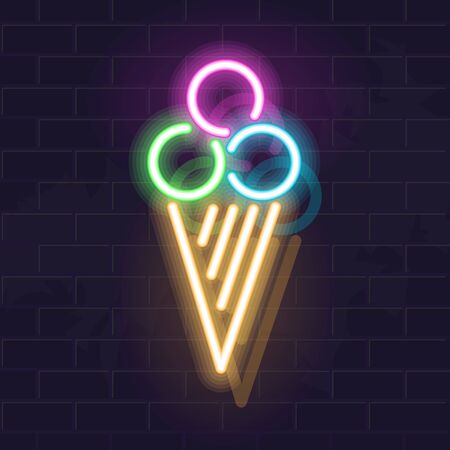 3 balls of ice cream in waffle cone. Vector isolated neon illustration for any dark background. Fluorescent line art icon for logo, poster, menu, social network post.