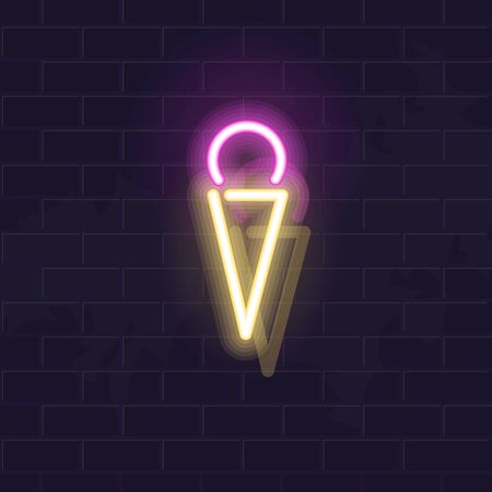 Ice cream ball in waffle cone. Vector isolated neon illustration for any dark background. Fluorescent line art icon for logo, poster, menu, social network post. Ilustrace