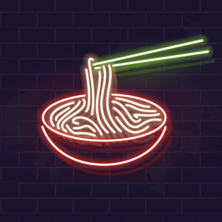 Neon soba bowl icon on brick wall background. Japanese cuisine, asian noodle soup. Vector isolated illustration for restaurant menu or flyer. Ilustrace