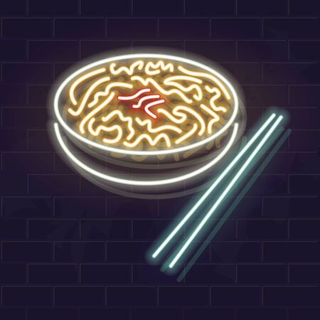 Neon yakisoba bowl icon on brick wall background. Japanese cuisine, asian noodle soup. Vector isolated illustration for restaurant menu or flyer. Stock Illustratie