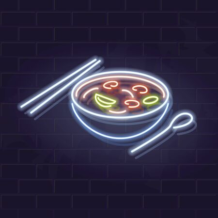 Neon tom yum bowl icon on brick wall background. Asian noodle soup. Vector isolated illustration for restaurant menu or flyer.