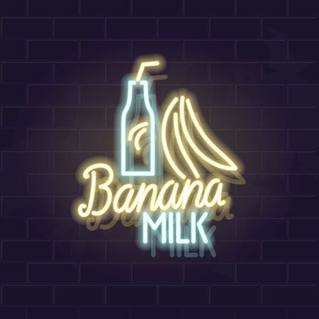 Neon banana milk bottle. Korean famous fruit beverage. Vector isolated neon illustration for any dark background. Fluorescent line art icon for logo, poster, menu, social network post. Ilustrace