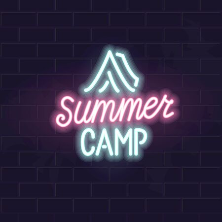 Neon summer camp typography with tent icon. Square isolated vector illustration. for poster, banner, social network post, advertisement.