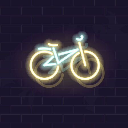 Neon mountain bicycle icon. Vector isolated neon illustration for any dark background. Fluorescent line art icon for logo, poster, social network post. Ilustrace