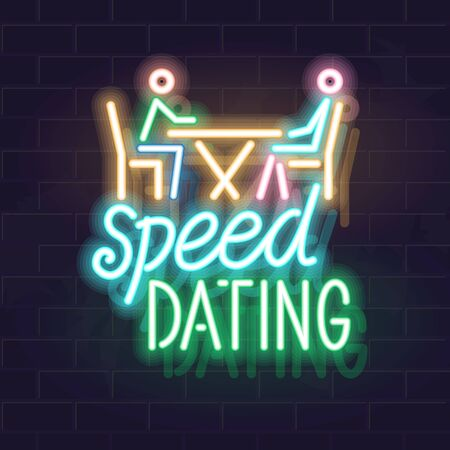 Neon speen dating scene. Man and woman talking with handwritten typography. Vector isolated neon illustration for any dark background.
