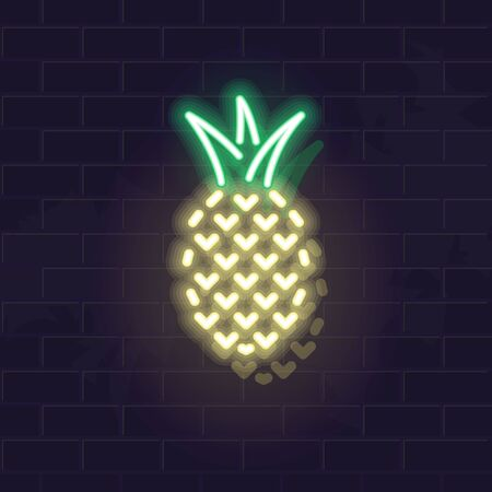 Neon pineapple icon. Vector isolated neon illustration for any dark background. Fluorescent line art icon for menu, logo, poster, social network post