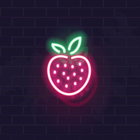 Neon strawberry icon. Vector isolated neon illustration for any dark background. Fluorescent line art icon for menu, logo, poster, social network post