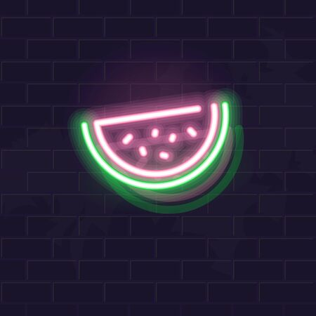 Neon watermelon icon. Vector isolated neon illustration for any dark background. Fluorescent line art icon for menu, logo, poster, social network post